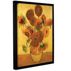 "ArtWall Vase with Fifteen Sunflowers by Vincent Van Gogh Framed Painting Print on Wrapped Canvas Size: 48"" H x 36"" W"