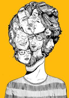 New illustration 'Multiple Personality' Satirical Illustrations, Illustrations And Posters, People Illustration, Illustration Art, Art Sketches, Art Drawings, Working At Mcdonalds, Psy Art, Identity Art