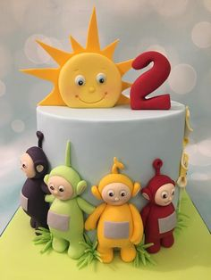 Teletubbies birthday celebration cake with sunshine Toddler Birthday Cakes, 1 Year Old Birthday Party, Second Birthday Ideas, Birthday Cake Girls, 2nd Birthday, Teletubbies Birthday Cake, Teletubbies Cake, Little Boy Cakes, Daisy Party