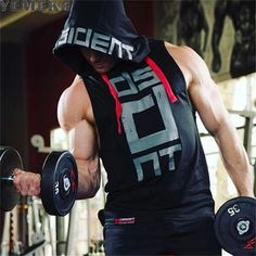 Vests Men's Gym Clothing Bodybuilding Stringer Hoodie Tank Tops Muscle Hooded T-Shirts Men's Bodybuilding Workouts, Gym Outfit Men, Body Building Men, Sleeveless Hoodie, High Quality T Shirts, Mens Fitness, Gym Fitness, Gym Men, Active Wear