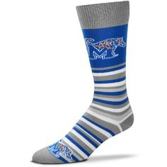 For Bare Feet University of Memphis Lotta Stripe Dress Socks (Blue, Size One Size) - NCAA Licensed Product, NCAA Novelty at Academy Sports
