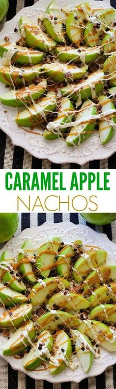 Caramel apple nachos, apples, dessert, Halloween - Home Page Halloween Food For Party, Halloween Treats, Easy Halloween, Halloween Halloween, Halloween Decorations, Halloween Finger Foods, Halloween Costumes, Healthy Halloween, Halloween Makeup