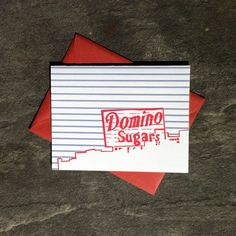 Tiny Dog Press - Baltimore Letterpress Card: Domino Sugars Sign, single card with envelope