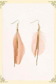 Danty gold feather earrings