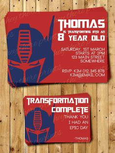 Optimus Prime Transformers Invitations and Thank You Cards - Autobots - Bumblebee on Etsy, $18.16
