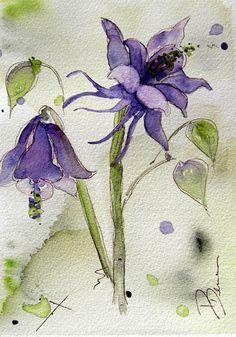 Columbine aquarel botanische kunst Print 8 x 10 Columbine