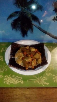 Tamarind Tofu with vegetables on corn tortilla and sushi seaweed wrap... Enjoy