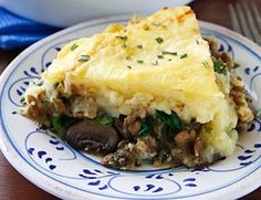 Lentil and Mushroom Shepherd's Pie (Veggie), but exchange some of the potatoes for cauliflower and cottage cheese