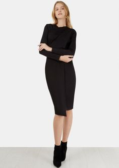Black Cross Over Neck Front Split Dress - New In