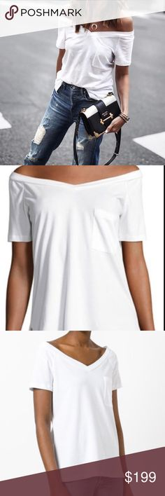 NWT Robert Rodriguez white off the shoulder tshirt SOLD OUT EVERYWHERE. New with tags robert rodriguez white off the shoulder pocket t shirt Robert Rodriguez Tops Tees - Short Sleeve