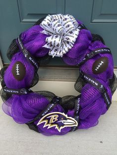 Baltimore Raven Deco Mesh Wreath by TeamWreath on Etsy, $59.00