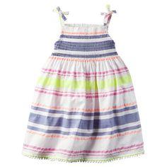 Smocked Neon-Striped Dress