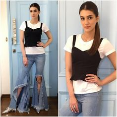 Fashion Faceoff: Alia Bhatt or Kriti Sanon, who wore the flared cutoff jeans better? Sushant Singh, Alia Bhatt, Jean Shirts, Girl Poses, Formal Dresses, Celebrities, Jeans, Sexy, Casual
