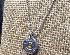 "45 Caliber Silver Shell on 16"" Sterling Silver Mini Ball Chain Necklace by Spent Rounds Designs! Show off your passion by wearing Spent Rounds Designs bullet jewelry!"