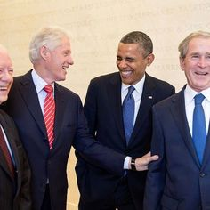 Laughing on President's Day.