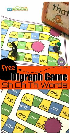 Ch Sh Th Digraph Game FREE Digraph Game – Help kids work on phonics skills and mastering Ch Sh Th sounds with this FREE Pritnable Digraph Game for Kindergarten and Graders. Phonics Games For Kids, Reading Games For Kids, Phonics Activities, Kindergarten Literacy, Preschool, Reading Games For Kindergarten, Activities For 1st Graders, Reading Groups, Teaching Reading
