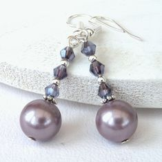 Lilac shell pearl earrings with amethyst crystals £7.50