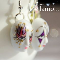 Back in stock! Venetian mask precious porcelain silver earrings with by byVellamo