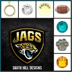 #football, #lockets, #jaguars www.southhilldesigns.com/charm-girl
