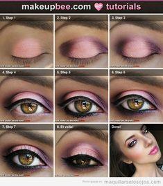 I love pink make-up. I always seem to wear pink make-up! It makes my eyes pop! Step-By-Step Tutorial on cute pink make-up. Makeup Set, Love Makeup, Skin Makeup, Makeup Looks, Makeup Ideas, Bride Makeup, Purple Makeup, Pretty Makeup, Prom Makeup