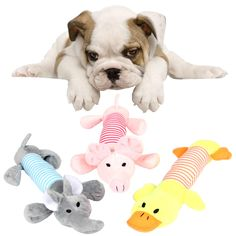 Pustor Animal Cute Squeaky Plush Puppies Toys Sound Plush Long Pet ToysSqueakers Dogs Toys Pack of 3 ** Want additional info? Click on the image. (This is an affiliate link) #DogToys