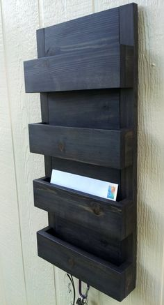 Mail Organizer / 4 Pocket Mail and Key Holder / Finished in Black Stain… Diy Wood Projects, Home Projects, Wood Crafts, Woodworking Projects, Mail And Key Holder, Mail Holder Wall, Mail Organizer Wall, Entryway Organization, Wood Pallets