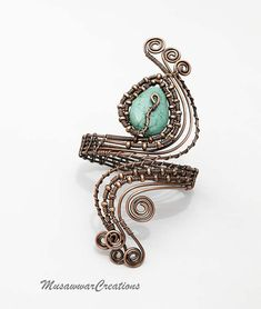 Antique Copper Wire wrapped forearm cuff bracelet. Handmade