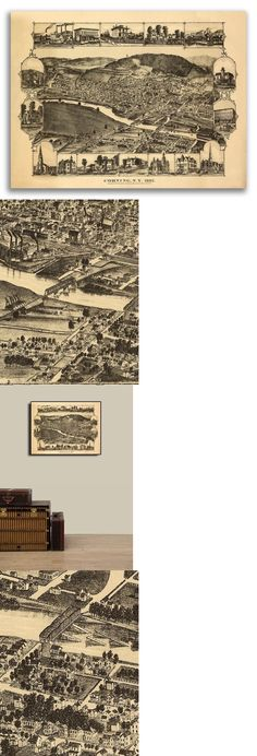 New York City 24x32 New York 1876 Historic Panoramic Town Map