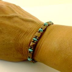 Bracelet Antique Copper Slider With Turquoise by CinLynnBoutique