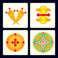 丁子 クローブのこと。 大陸から渡ってきたもので、元は薬や香料として使われたもの。 高価で貴重な品だった。 分銅 秤で使われるおもりのこと。 金銀は重さで取引されるため、分銅をたくさん使う=金銀がたくさんある という意味。 花輪違・七宝 どちらも意味は同じ。 法華経でいうところのこの世の7つの宝。 名前の通り7つの宝物を指します。 時代や地方などの違いで幾つかの説があるようですが数は7つです。 仏教でいう7つの宝は般若経によると金、銀、瑠璃(るり)、しゃこ、瑪瑙(めのう)、琥珀(こはく)、珊瑚(さんご)の7種とされます。 無量寿経では、金、銀、瑠璃(るり)、シャコ、瑪瑙(めのう)、玻璃(はり)、珊瑚(さんご)の7種。 法華経では、金、銀、瑠璃(るり)、シャコ、瑪瑙(めのう)、真珠、マイ瑰(まいかい)の7種。