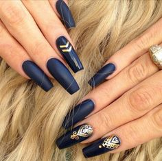 Matte Navy Square Tip Acrylic Nails w/ Gold Print