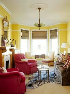 interior color schemes, yellow-green spring decorating | living