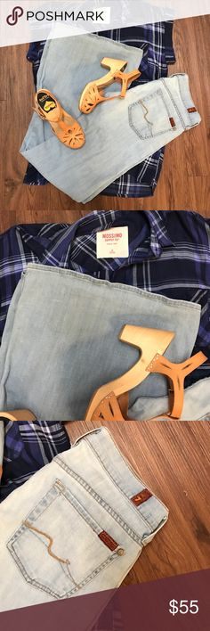 7for all mankind Awesome retro wide leg jeans in a faded denim color.  In great condition.  15in waistline, 7in rise and 33in inseam.😍 7 For All Mankind Jeans Flare & Wide Leg