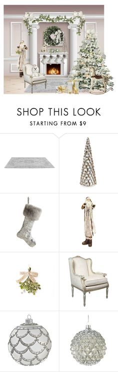 """""""Christmas in White"""" by ebbyinez ❤ liked on Polyvore featuring interior, interiors, interior design, home, home decor, interior decorating, Frontgate, Melrose International and Goodwill"""