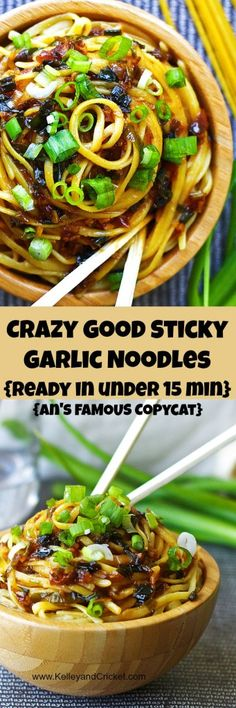 These sticky garlic noodles taste just like the An's Famous Garlic Noodles and can be made in under 15 minutes! And my version is gluten free! One word of caution- they are so very addictive! I strong