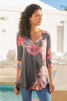 Love the mix of colors and style of top. Midnight Blooms Top from Soft Surroundings