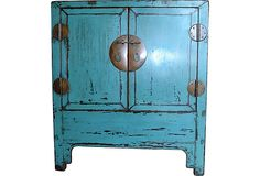 Wouldn't this be so fabulous as a bedside table? I love the patina and color. Chinese Turquoise Chest