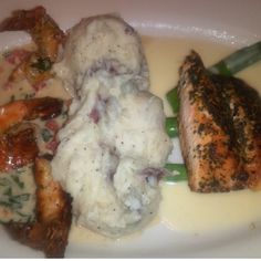 Herb Crusted Salmon, Shrimp Scampi, Asparagus, mashed Potatoes- Cheesecake Factory