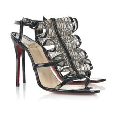 Undoubtedly Selection Sexy and Sleek Cheap Best-Brand Christian Louboutin  Fortitia Lace Sandals Black Red