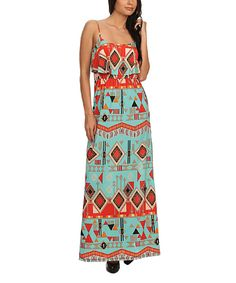 This Aqua & Orange Geometric Maxi Dress by Pretty Young Thing is perfect! #zulilyfinds