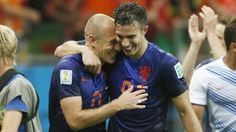 Arjen Robben and Robin van Persie after winning 5-1 against Spain; World Cup Brazil April 13 2014