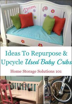 7+ ideas for repurposing and upcycling that used baby crib into something the whole family can use {on Home Storage Solutions 101}