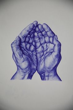 https://flic.kr/p/a5Nj1U | cupped hands | cupped hands done in blue biro