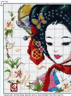 schemiapuntocroce-schema+a+punto+croce+donna+giapponese.jpg (550×740)