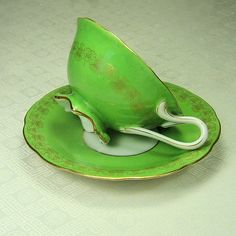 Vintage Green and Gold Teacup and Saucer T