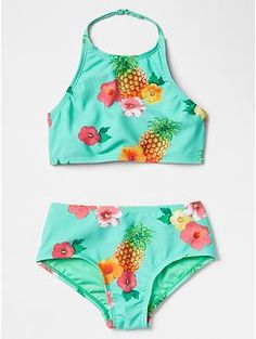 Pineapple high-waisted swim two-piece