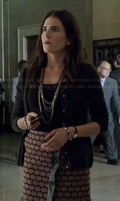 Laurel's geometric patterned leather-trim wrap skirt on How to Get Away with Murder.  Outfit Details: http://wornontv.net/44930/ #HTGAWM