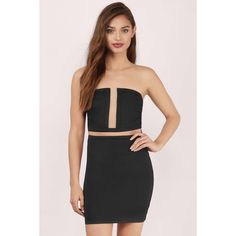 Tobi See You Soon Bodycon Dress ($15) ❤ liked on Polyvore featuring dresses, black, mesh panel dress, body con dress, strapless bodycon dress, tobi dresses and body conscious dress
