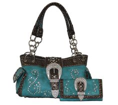 shoulder bags: Montana West - Concealed Carry Purse - Rhinestone Buckle Chain Concealment Purse with Matching Wallet (Turquoise) Concealed Carry Purse, Fabric Embellishment, Camo Outfits, Purse Wallet, Montana, Purses And Bags, Turquoise, Handbags, Chain
