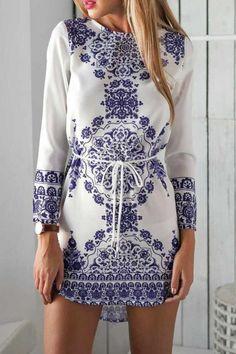 Ethnic Porcelain Printed Drawstring Mini Dress